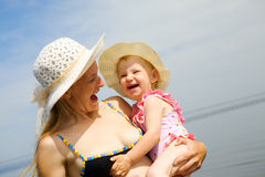 Laughing mom and daughter Royalty Free Stock Image