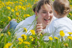 Laughing Mother and Son Royalty Free Stock Images