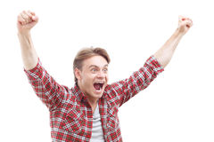 Laughing nice guy holding hands up Royalty Free Stock Photography