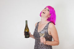 Laughing party woman Stock Photos