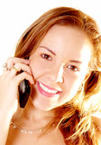 Laughing Phone Woman. Beautiful woman laughing by phone. Over white background Stock Photography