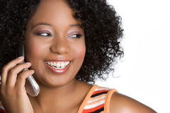 Laughing Phone Woman. Laughing african american phone woman Stock Photography