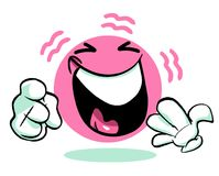 Laughing pink cartoon emoticon emoji Royalty Free Stock Photos