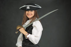 Laughing pirate in hat armed with sabre Stock Photography