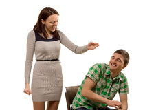 Laughing playful attractive young couple Stock Image