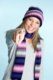 Laughing Pointing Girl Stock Photo