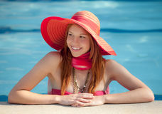 Laughing in the Pool Stock Image