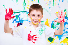 Laughing preschool boy Stock Images
