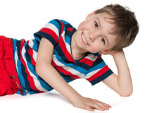 Laughing preschool boy resting Stock Photo