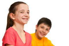 Laughing pretty girl and a boy Stock Photos