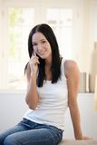 Laughing pretty girl on phone call Royalty Free Stock Photos
