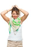 Laughing Pretty Woman Holding Back her Hair Stock Images