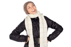 Laughing Pretty Woman Winter Fashion Stock Images