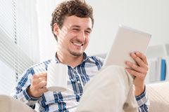 Laughing reader Royalty Free Stock Photography