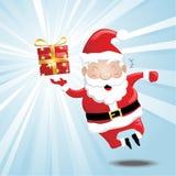 Laughing Santa. Illustration of a laughing santa, holding a present Stock Photos