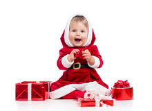 Laughing Santa Claus Baby Girl With Gift Box Stock Photography