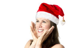 Laughing Santa Claus Woman Stock Photo