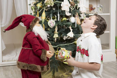 Laughing with Santa Clause Stock Photo