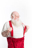 Laughing Santa with red suspenders Stock Images