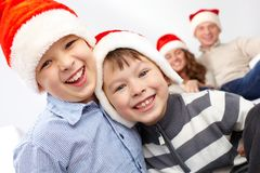 Laughing Santas Royalty Free Stock Photo