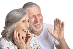 Laughing senior couple. Portrait of laughing senior couple isolated on white background stock photography