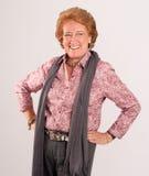 Laughing senior lady. Laughing Elegant senior lady on a white background stock image