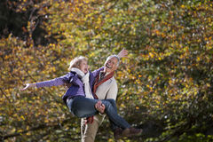 Laughing senior man carrying wife in autumn park. Laughing senior men carrying wife in autumn park Royalty Free Stock Images
