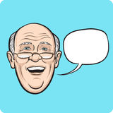 Laughing senior man with speech bubble Royalty Free Stock Photography