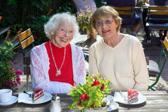 Laughing senior women seated with cake. Pair of cute friendly laughing senior women seated with slices of cake on wooden table in outdoor cafe stock photo