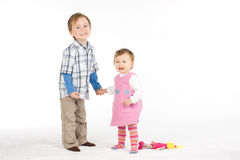 Laughing siblings Royalty Free Stock Photos