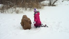 Laughing sisters having fun at the winter day. Laughing sisters having fun at the snowy winter day stock video footage