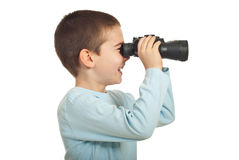 Laughing small boy with binocular Royalty Free Stock Images