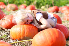 Laughing small girl playing on pumpkin field Royalty Free Stock Photography