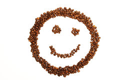 Laughing smiley made of coffee beans Stock Photography