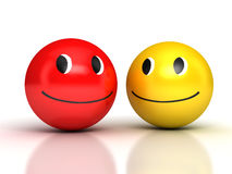 Laughing Smileys over white Royalty Free Stock Images
