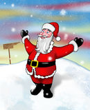 Laughing on the snow. Cheery Santa in the North Pole Stock Photo