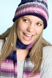 Laughing Snow Girl Royalty Free Stock Images