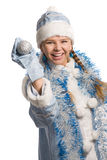 Laughing snow girl Stock Photo