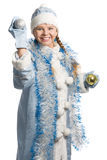 Laughing snow girl Stock Images