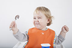 Laughing spoon up Stock Photo