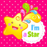 Laughing star. Inscription - I`m a Star. Vector illustration Stock Image