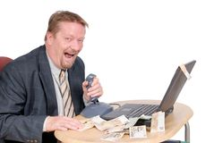 Laughing stock exchange trader Royalty Free Stock Images