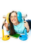 Laughing student with reading lamps Royalty Free Stock Photography