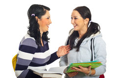Laughing students girls. Two students girls standing face to face  having an conversation and laughing together isolated on white background Royalty Free Stock Images
