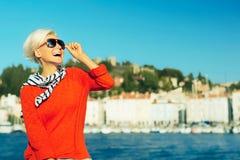 Laughing Stylish blonde on vacation. Travel. Royalty Free Stock Photo
