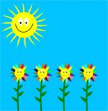 Laughing sun and laughing flowers. A nice and worm summer with sun and flowers Royalty Free Illustration