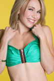 Laughing Swimsuit Girl. Beautiful blond swimsuit girl laughing Royalty Free Stock Photo