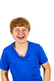 Laughing teen boy isolated on white Stock Photography