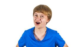 Laughing teen boy isolated on white Royalty Free Stock Images