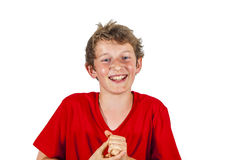 Laughing teen boy isolated on white Royalty Free Stock Photos
